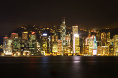 香港夜城市 库存照片