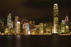 香港夜城市 库存图片
