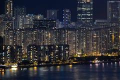 香港夜视图 免版税库存图片