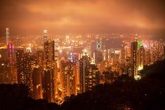 香港夜视图 库存照片