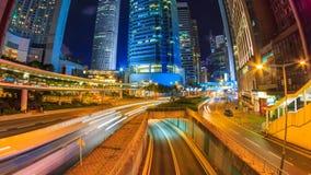 香港夜都市风景时间间隔 股票视频
