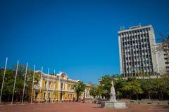 香港大会堂在广场波利瓦,圣玛尔塔,哥伦比亚 库存照片