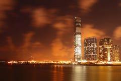 香港大都会晚上场面 免版税库存照片