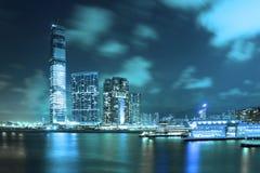 香港大都会晚上场面 库存图片