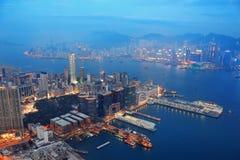 香港天线晚上 免版税库存照片