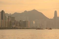 香港太阳落山维多利亚哈尔伯 库存图片