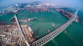 香港容器港区美好的4K空中顶视图  股票录像