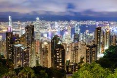 香港市地平线看法在晚上 库存照片