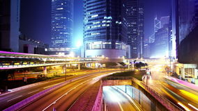 香港市夜Timelapse。宽仍然射击了。 股票视频