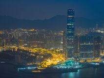 香港市视图在晚上 免版税库存照片