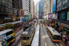 香港拥挤了街道视图 免版税库存图片