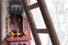 香港新界在农历新年的寺庙法坛 免版税库存图片