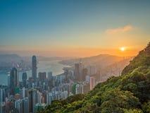 香港日出视图 免版税图库摄影