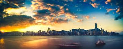 香港日夜维多利亚港 免版税库存照片