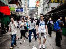 香港旺角拥挤的街 库存照片