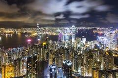 香港晚上峰顶地平线视图 图库摄影