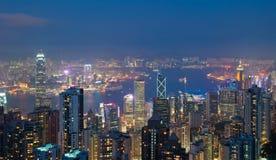 香港晚上峰顶维多利亚视图 免版税库存照片