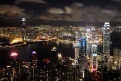 香港晚上视图 图库摄影