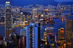 香港晚上 库存照片