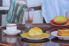 香港样式食物集合 下午茶时间 库存图片