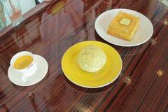 香港样式食物集合 下午茶时间 免版税图库摄影