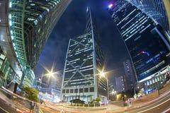 香港横向现代晚上业务量 免版税库存照片
