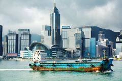 香港海岛摩天大楼的看法  图库摄影