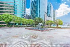 香港港口看法从轮渡码头观察台的 库存照片