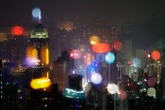 香港现代晚上场面摩天大楼 免版税库存图片