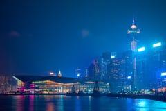 香港的夜堤防 库存图片