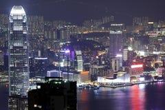 香港的晚上场面 库存照片
