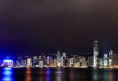 香港维多利亚港口晚上场面 库存照片