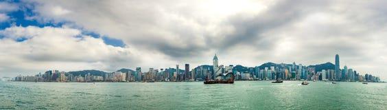 香港维多利亚港天 库存照片