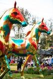 香港花卉展览2018发光的式样马展览 免版税库存图片