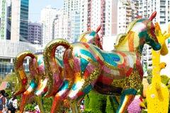 香港花卉展览2018发光的式样马展览 免版税图库摄影