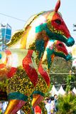香港花卉展览2018发光的式样马展览 库存照片