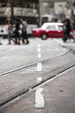 香港葡萄酒街市街道场面 免版税库存图片