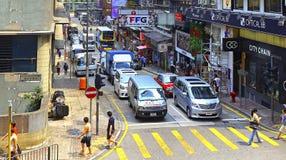 香港街道视图:女王/王后维多利亚街道,中央 图库摄影