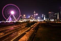 香港费利斯轮子在晚上 免版税库存照片