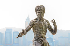 香港,中国- 2月08 :在星o大道的李小龙雕象  免版税库存图片