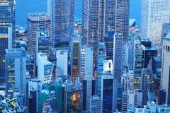 香港,横跨太平山的地平线全景 库存图片