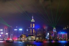 香港,维多利亚晚上视图 免版税库存图片