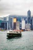 香港, CHINA/ASIA - 2月27日:轮渡横穿在香港 免版税库存照片
