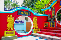 香港:在Kwun薯类寺庙寺庙的菩萨雕象,一座道士寺庙在浅水湾,香港的东南结尾我 图库摄影