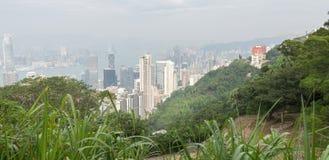 香港:2015年11月3日:香港从峰顶的全景视图 库存照片