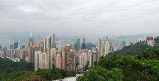 香港:2015年11月3日:香港从峰顶的全景视图 库存图片