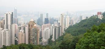 香港:2015年11月3日:香港从峰顶的全景视图 免版税图库摄影