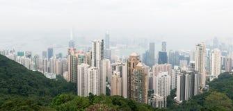 香港:2015年11月3日:香港从峰顶的全景视图 免版税库存照片