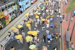 2015年香港活动家在选举包裹的表决前前进 库存图片