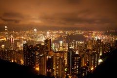香港从维多利亚峰顶的晚上视图 免版税库存图片